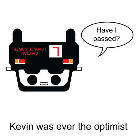 overturn: Kevin was ever the optimist cartoon isolated on white background