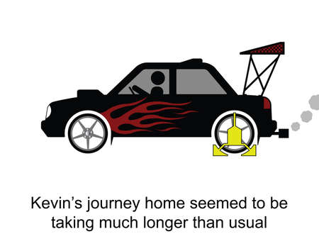 motorcar: Kevin and his slow journey home cartoon isolated on white background