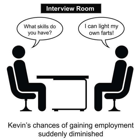 failed: Kevin failed at yet another job interview cartoon isolated on white background