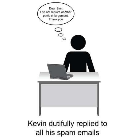 pene: Kevin ha risposto alla sua email di spam cartone animato isolato su sfondo bianco