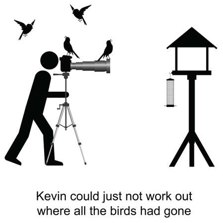ornithologist: Kevin could not understand where the birds had gone cartoon isolated on white background