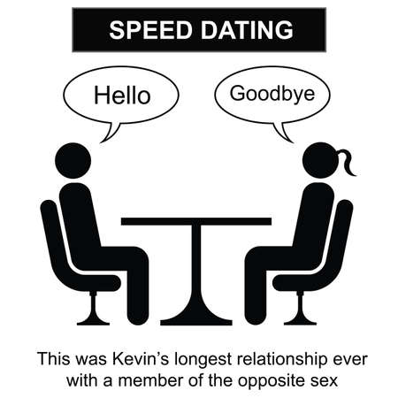 케빈과 흰색 배경에 고립 된 그의 단기간 관계 만화