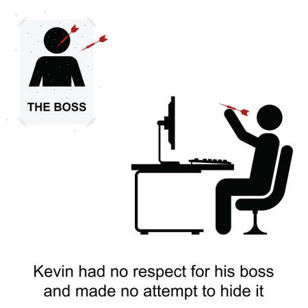 irrespeto: Kevin no tenía respeto por su jefe en el trabajo de dibujos animados aislado en el fondo blanco