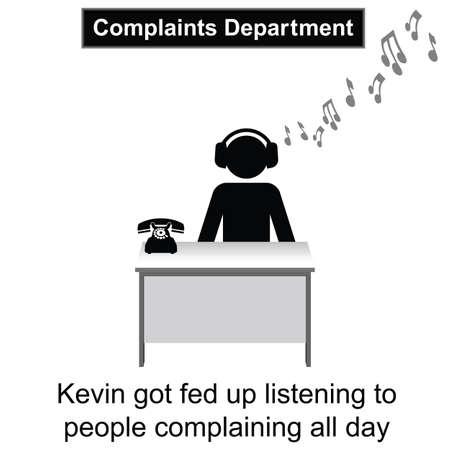 케빈은 사람들이 흰색 배경에 고립 된 만화를 계속 불평 불만을 품고있어