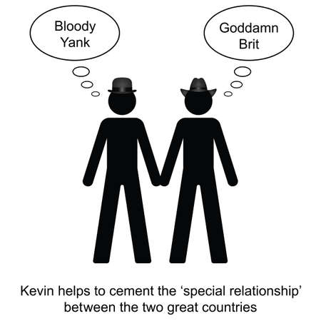 insulting: Kevin helps to cement the relationship cartoon isolated on white background