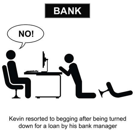 bank manager: Kevin recurri� a mendigar una caricatura pr�stamo aisladas sobre fondo blanco