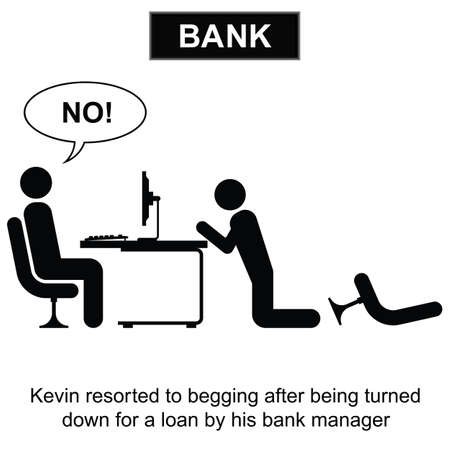 impoverish: Kevin resorted to begging for a loan cartoon isolated on white background  Illustration