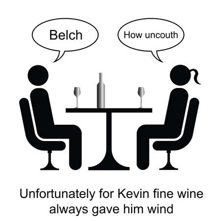 flatulence: Kevin could not handle his wine cartoon isolated on white background
