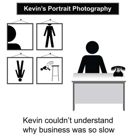 kevin: Kevin the portrait photographer and slow business cartoon isolated on white background  Illustration