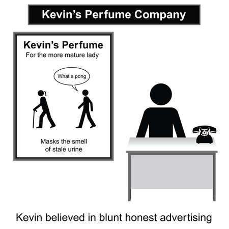 kevin: Kevin and his blunt advertising campaign isolated on white background  Illustration
