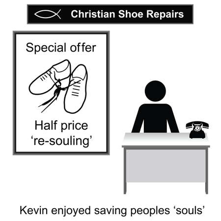 kevin: Kevin the Christian cobbler cartoon isolated on white background