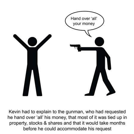 assailant: Kevin over complicated a simple cash transaction cartoon isolated on white background