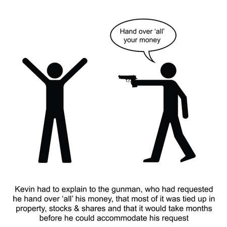 Kevin sobre un complicado historieta sencilla transacción de dinero en efectivo aislados en fondo blanco Foto de archivo - 24506014