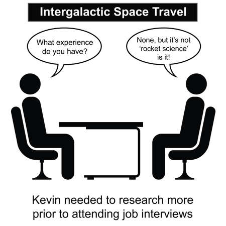 recruter: Kevin a �chou� � une autre bande dessin�e d'entrevue d'emploi isol� sur fond blanc