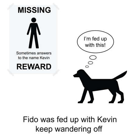 vanished: Kevin went missing again cartoon isolated on white background  Illustration