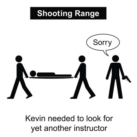 gunfire: Kevin was not a good shot cartoon isolated on white background