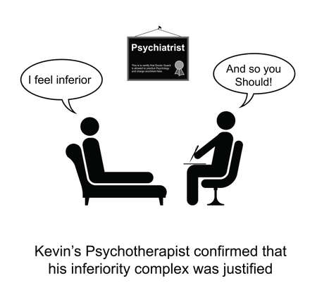 justified: Kevin and hi inferiority complex cartoon isolated on white background
