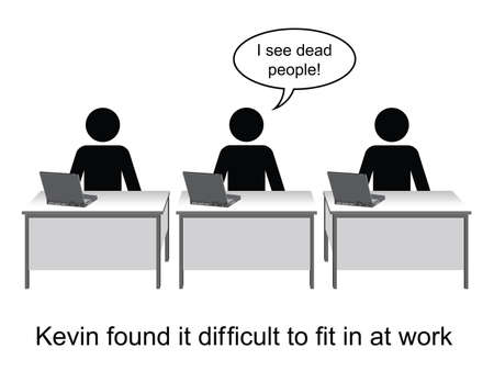 found it: Kevin found it hard to fit in at work cartoon isolated on white background  Illustration