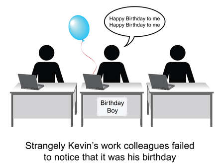 kevin: Kevin celebrated his birthday at work cartoon isolated on white background  Illustration