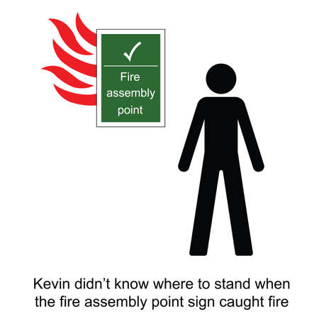 Kevin got confused during a fire at work cartoon isolated on white background