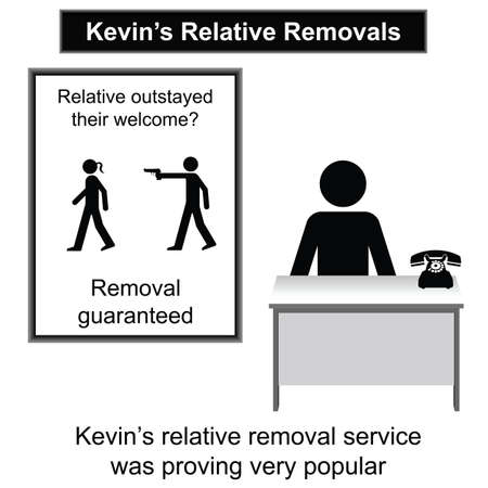 relative: Kevin relative removal service cartoon isolated on white