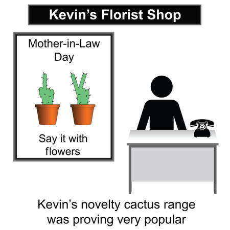 uncouth: Kevin in his florist shop cartoon isolated on white
