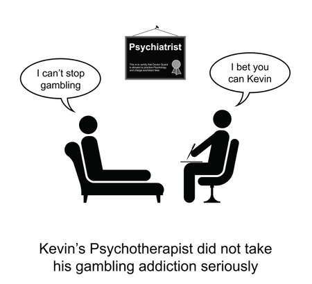 wager: Kevin and his gambling addiction cartoon isolated on white Illustration