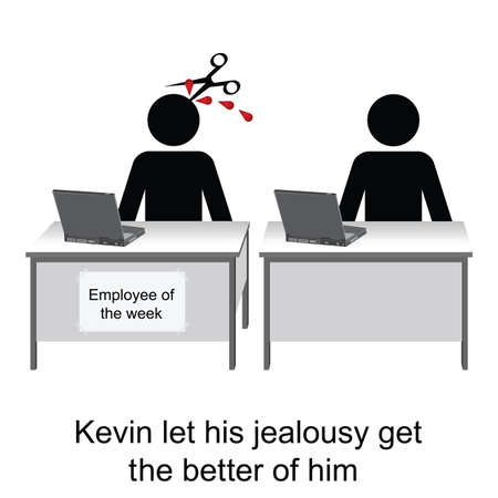resentment: Kevin let his jealousy show at work cartoon isolated on white
