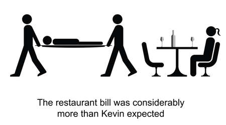 restaurant bill: Kevin faints on receiving the restaurant bill cartoon isolated on white