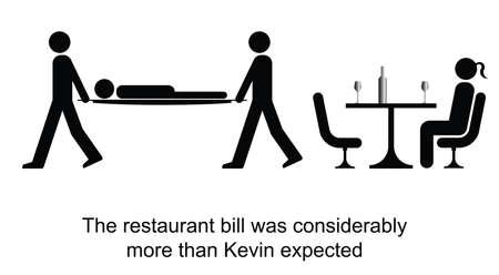 facture restaurant: Kevin s'�vanouit sur la r�ception de la bande dessin�e de facture de restaurant isol� sur blanc Illustration