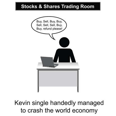 sell shares: Kevin crashed the world economy cartoon isolated on white