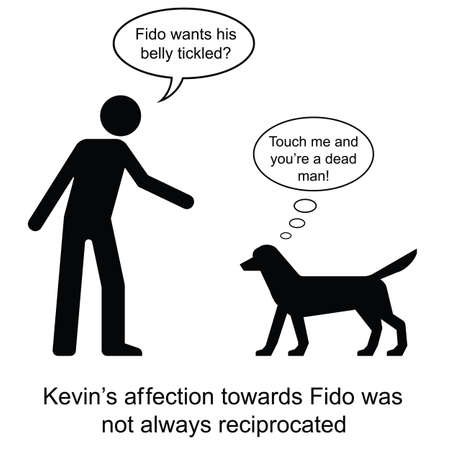 unfriendly: Kevin showed his affection towards Fido cartoon isolated on white