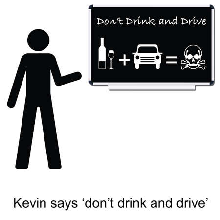 kevin: Kevin with drink drive message cartoon isolated on white background  Illustration