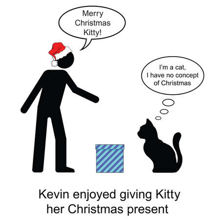 moggie: Kevin gave Kitty her Christmas present cartoon isolated on white background