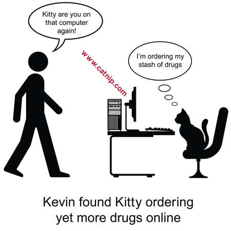 Kevin found Kitty ordering drugs cartoon isolated on white background