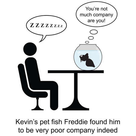 unwind: Kevin was not much company for Freddie cartoon isolated on white background