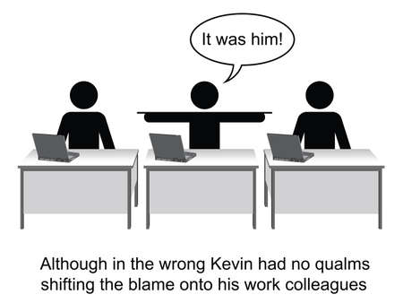blunder: Kevin took no responsibility at work cartoon isolated on white background