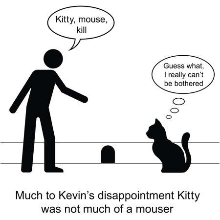 Kevin found Kitty was not much of a mouser cartoon isolated on white background  Illustration