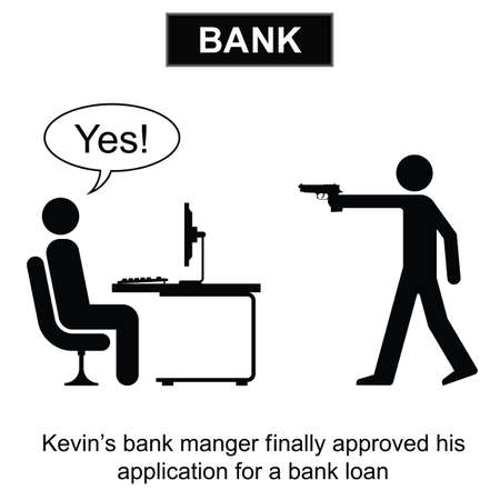 borrowing money: Kevin finally got his bank loan cartoon isolated on white background  Illustration