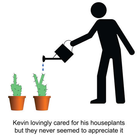impolite: Kevin lovingly cared for his houseplants cartoon isolated on white background
