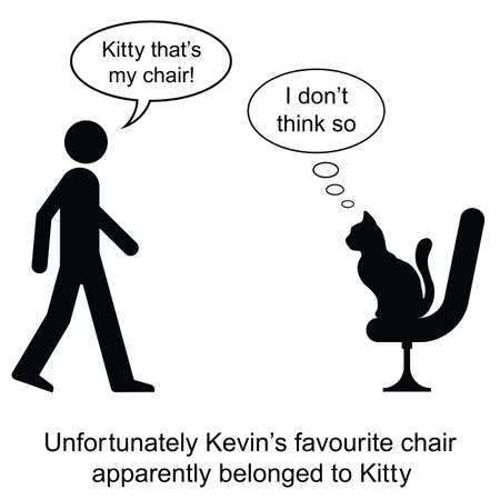 Kevin found Kitty on his chair cartoon isolated on white background  Illustration