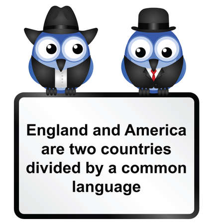 British and American language differences isolated on white background  Illusztráció