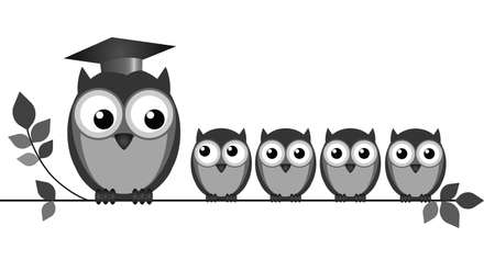 Owl teacher and pupils on branch isolated on white  Vector