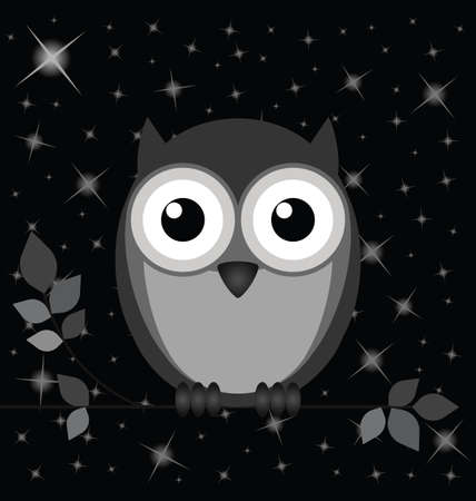 roost: Owl against a starry black night sky