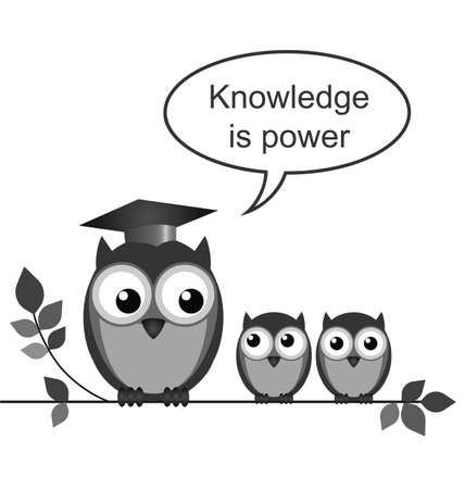 Owl teacher knowledge is power message isolated on white background Vector
