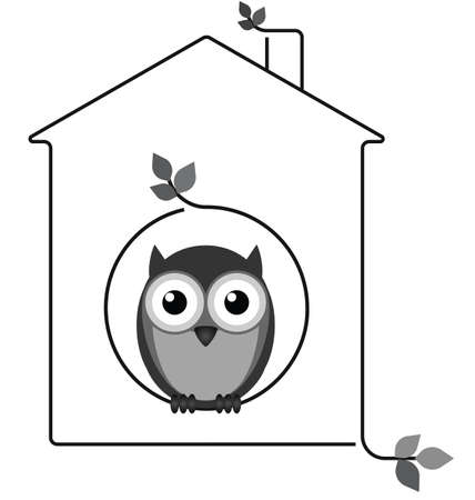 Owl in his twig house isolated on white background Stock Vector - 26019121