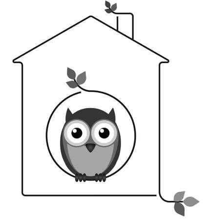 Uil in zijn takje huis geïsoleerd op een witte achtergrond Stock Illustratie