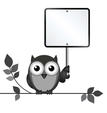 strigiformes: Owl with blank sign copy space for own text isolated on white background Illustration