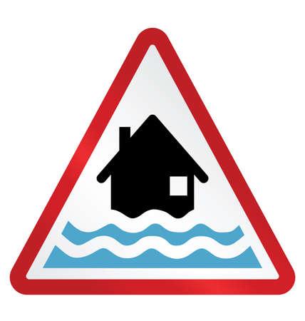 적색 경보 홍수 경고 기호 흰색 배경에 고립