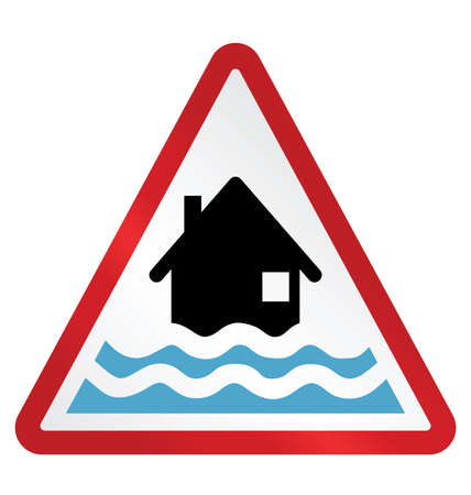 Red alert flood warning sign isolated on white background